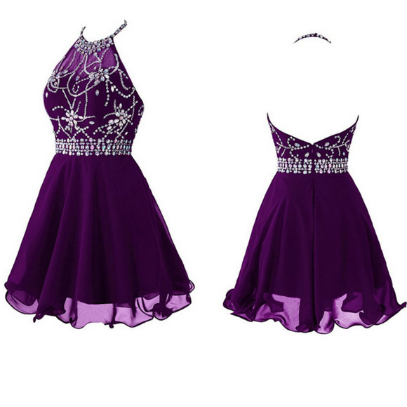 52aa2830f0219 Short Beaded Prom Dress Halter Homecoming Dress Boutique